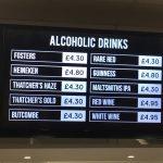 Drinks prices at Ashton Gate